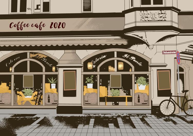 背景イラスト おしゃれなカフェ