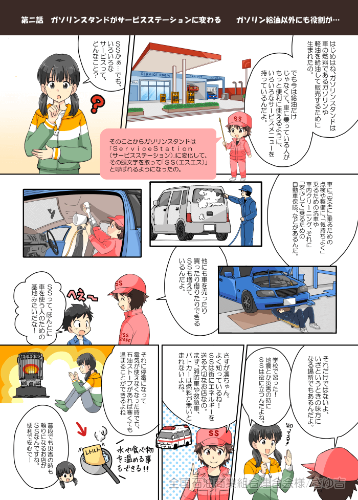 SS(ガソリンスタンド)の子ども向け教育漫画
