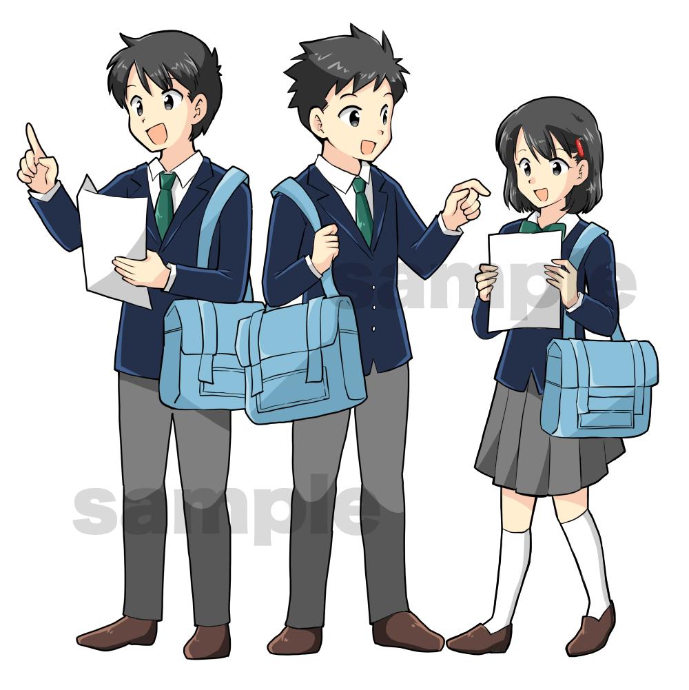 中学生男女が楽しそうに学校生活を送っているイラスト
